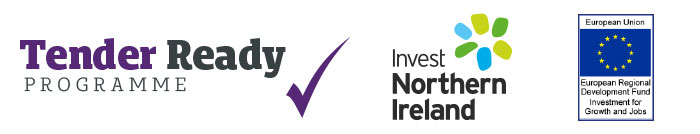 Tender Ready Programme logo, Invest NI logo and European Regional Development  Fund logo.