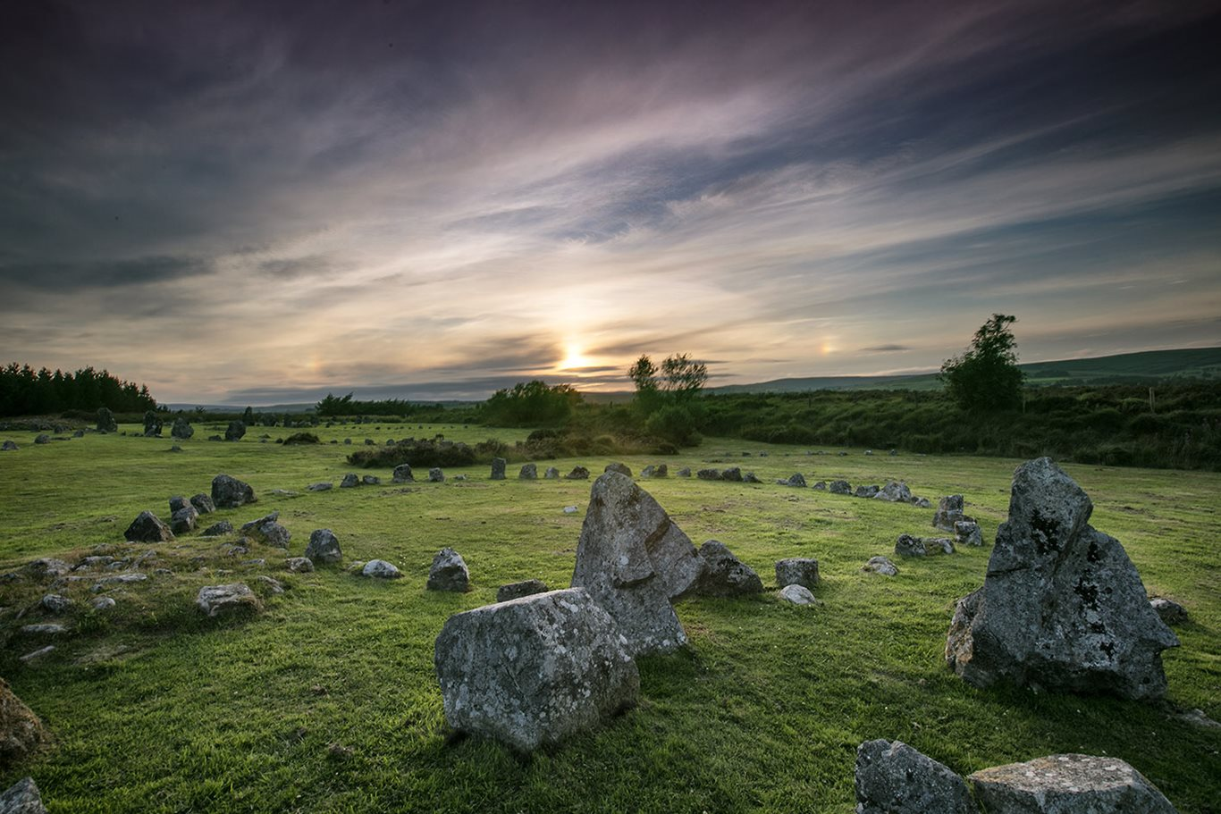 An image of the setting sun at Beaghmore Stone Circles