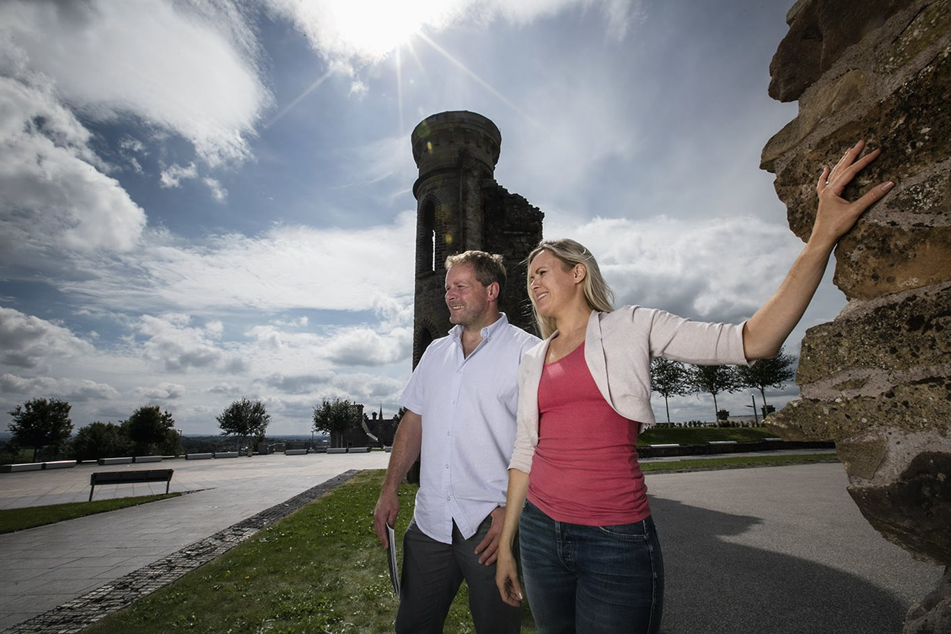 A couple standing on Hill of The O'Neill in Dungannon