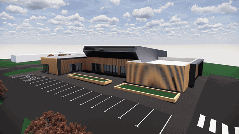 An artists 3D impression of the new centre at Pomeroy Forest showing parking facilities.