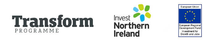 Transform Programme logo, Invest NI logo and European Regional Development  Fund logo.