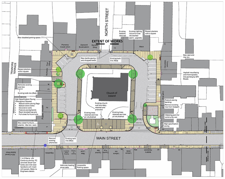 A map of the landscape proposals for the Pomeroy Public Realm Scheme.